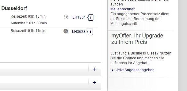 Günstige Lufthansa Business Class Upgrades Mit Myoffer