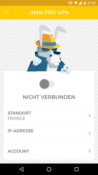 HMA Android Startbildchirm