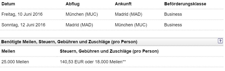 München - Madrid Business Class alt