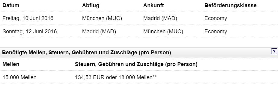 München - Madrid Economy Class alt
