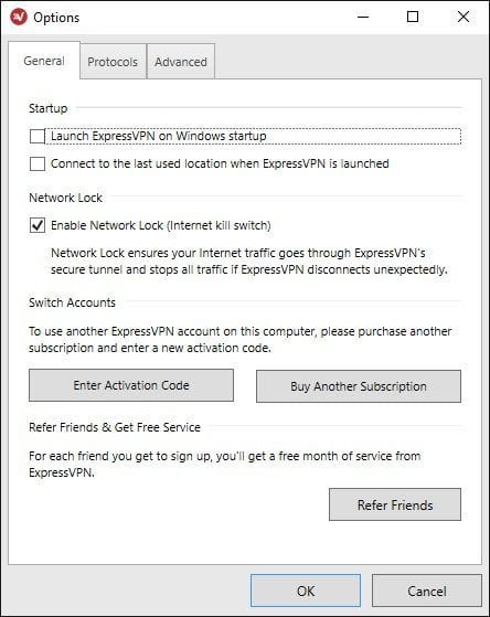 ExpressVPN Windows Options
