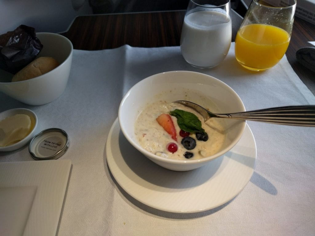 Qatar Airways Business Class Frühstück