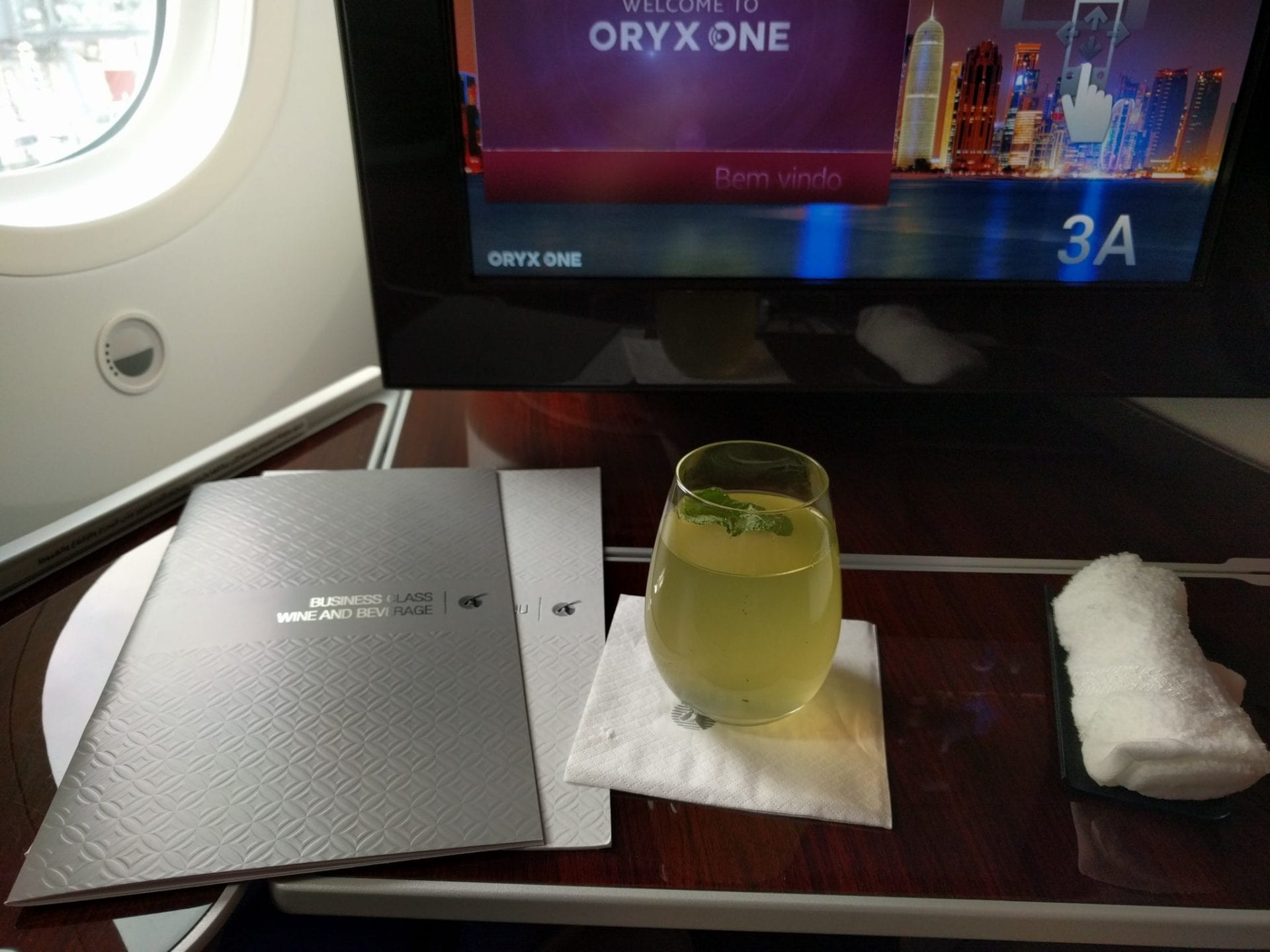 Qatar Airways Business Class Welcome Drink Menu