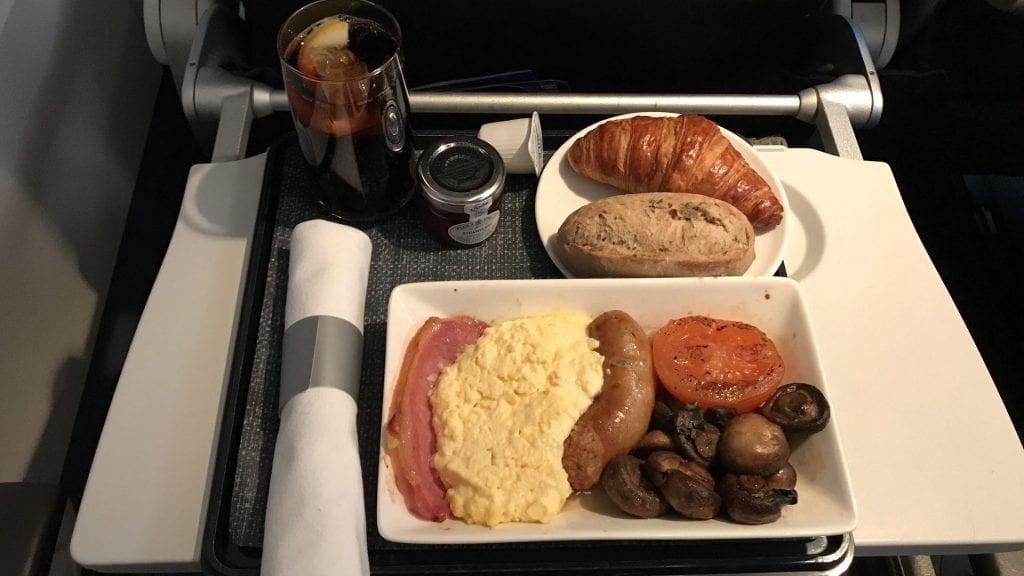 british airways business class a320 frühstück