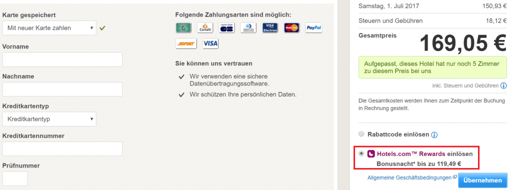 Hotels.com Rewards Einlösung