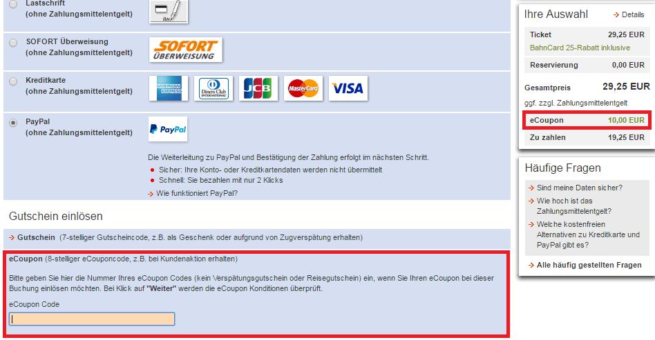 Bahn Gutschein eCoupon Einlösung