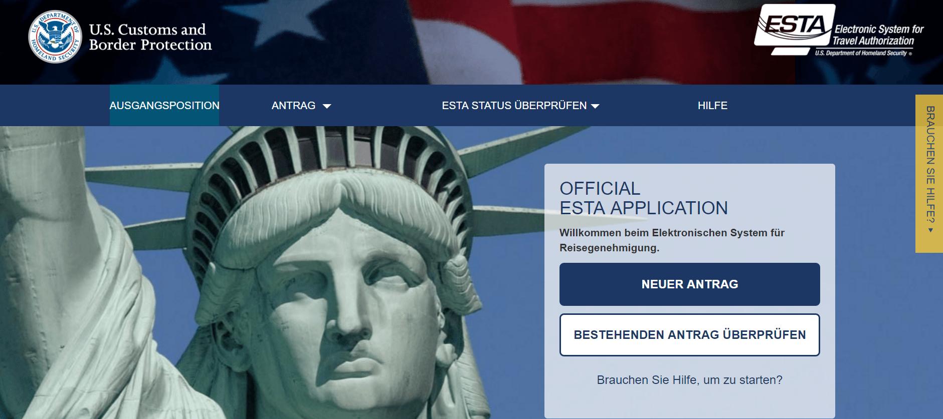 So sieht die offizielle ESTA Website aus