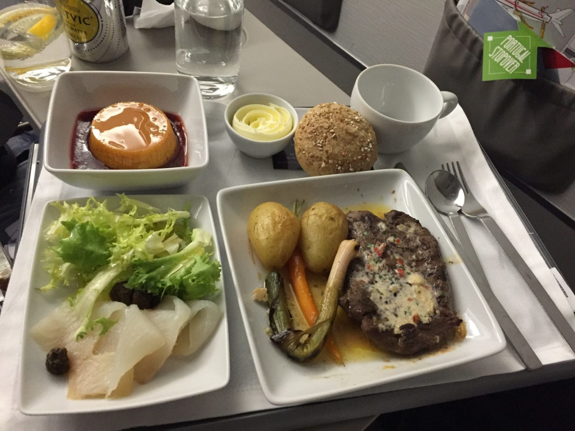 TAP Portugal A320 Business Class Abendessen