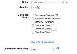 expertflyer prämiensuche Lufthansa