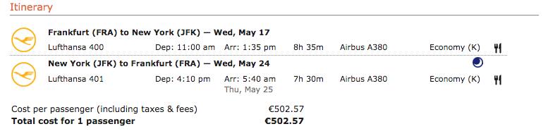 Lufthansa Flug Buchungsklasse
