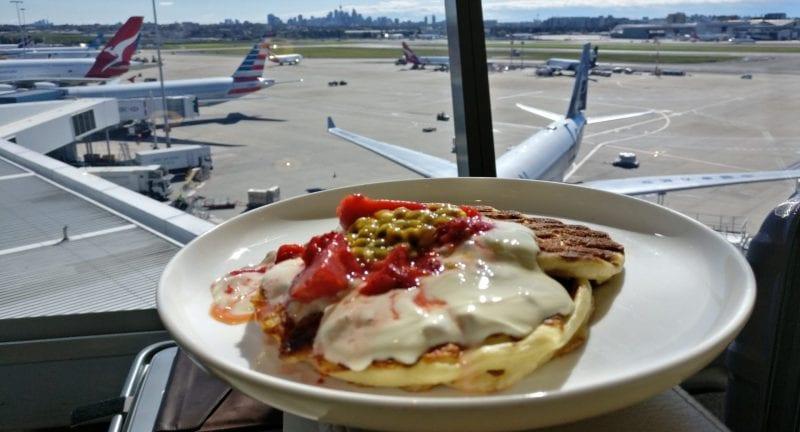 qantas first class lounge sydney pancakes