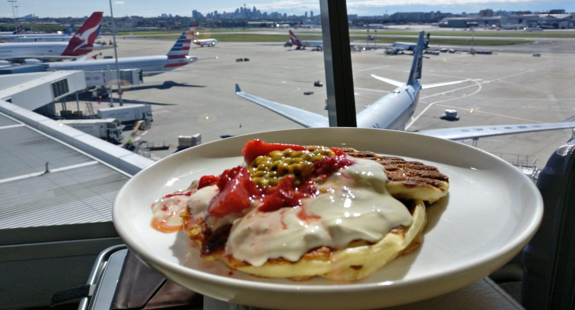 qantas-first-class-lounge-sydney-pancakes