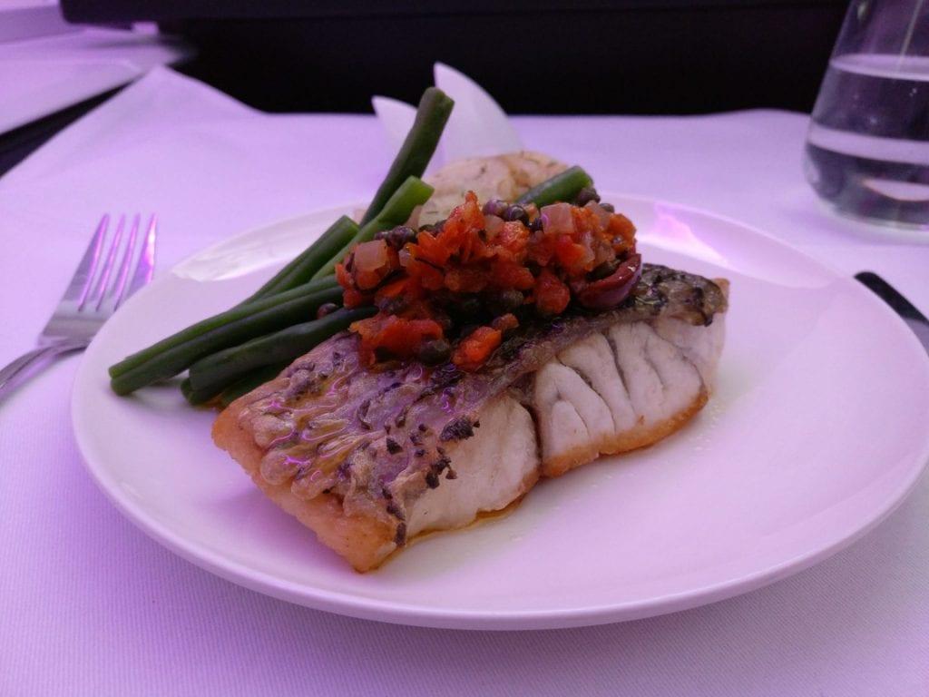Virgin Australia Business Class Dinner