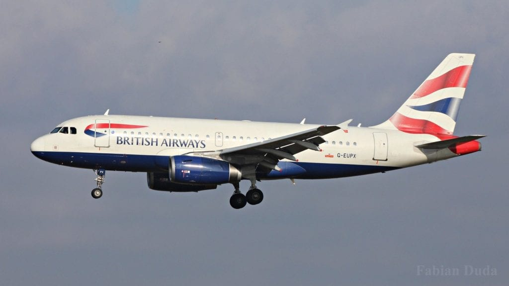 british airways airbus a319 landeanflug