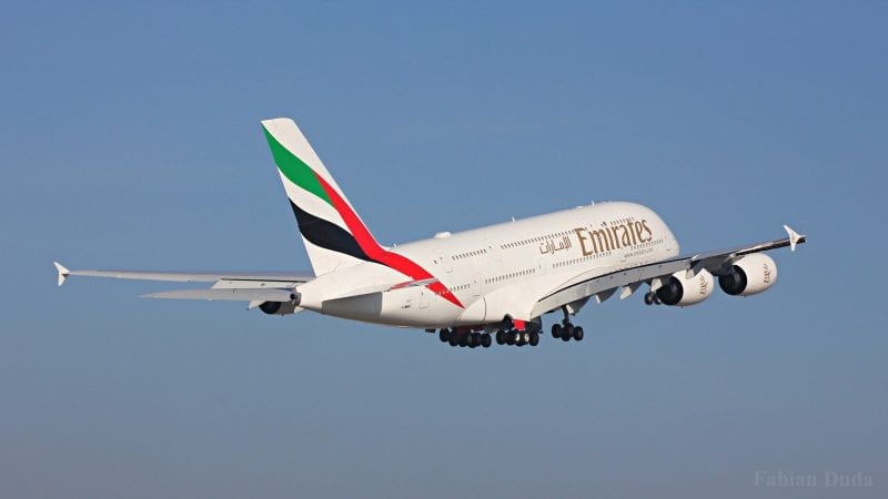 emirates airbus a380 start
