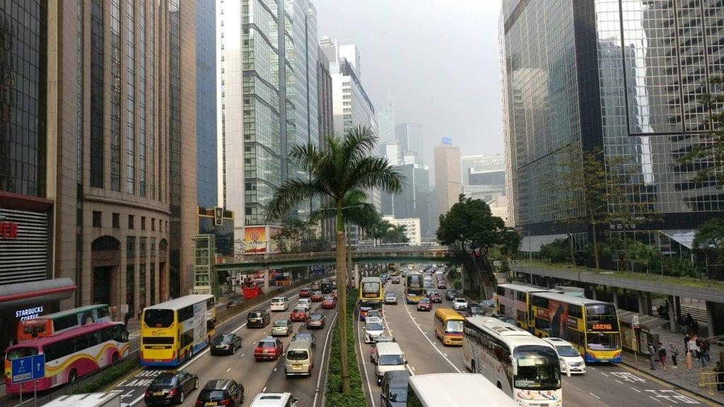 Hong Kong befahrene Straßen im Zentrum