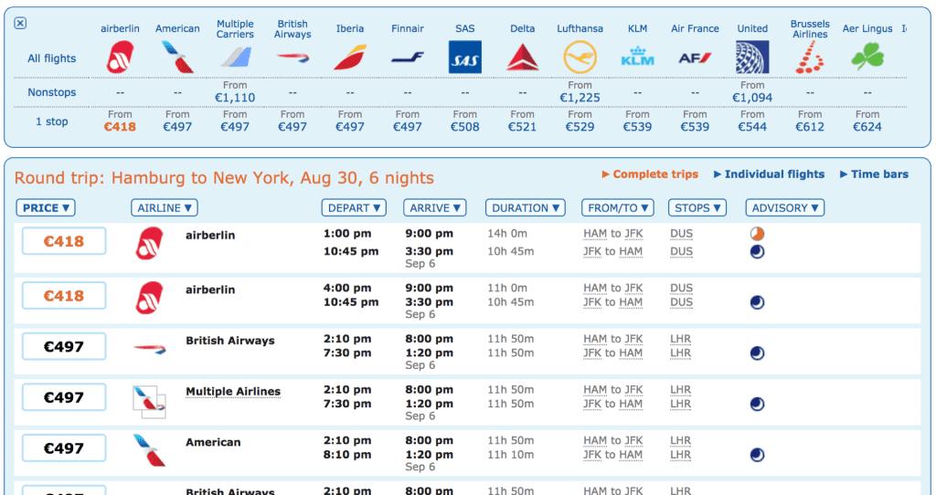 ITA Matrix Ergebnisse Airline Liste