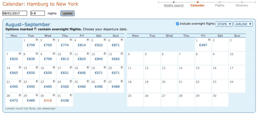 ITA Matrix Ergebnisse Kalender