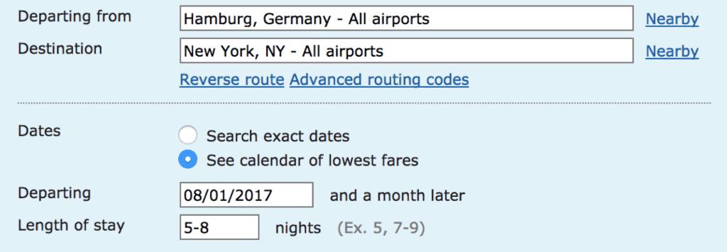 ITA Matrix Sucheingabe Flüge