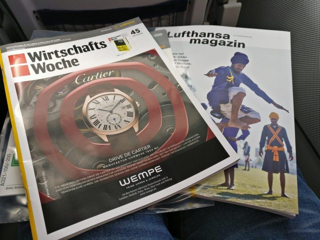 Lufthansa Business Class Mittelstrecke Magazin