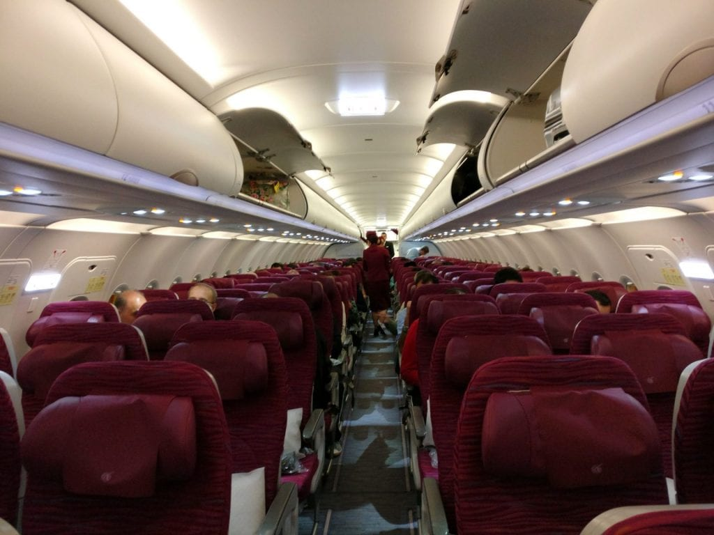 Qatar Airways Economy Class Airbus A320 Cabin