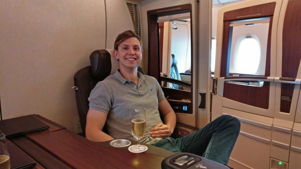Moritz in der Singapore Airlines Suites Class A380