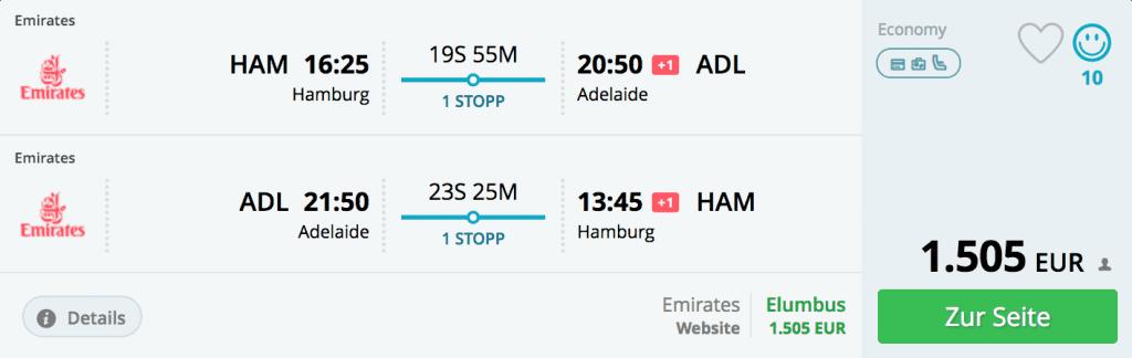 Teure Flüge von Hamburg nach Adelaide