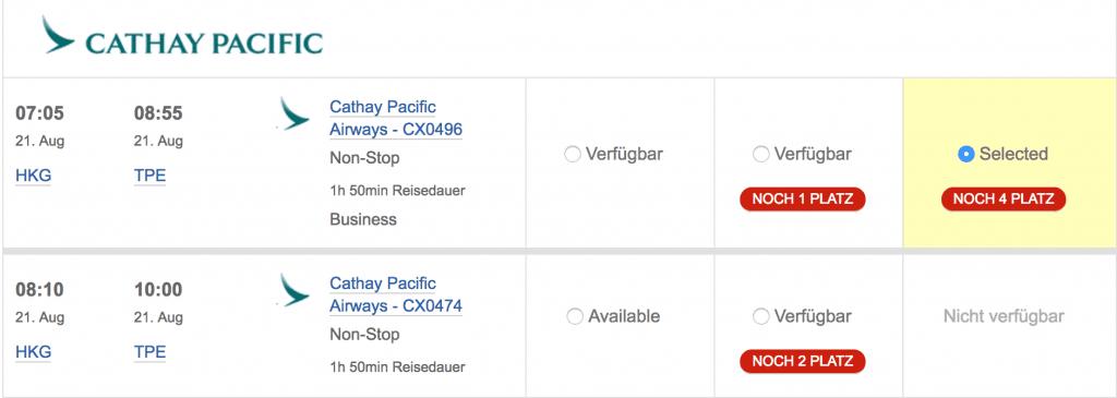 British Airways Avios einlösen Flug auswählen