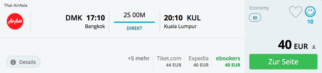 Flüge von Bangkok nach Kuala Lumpur