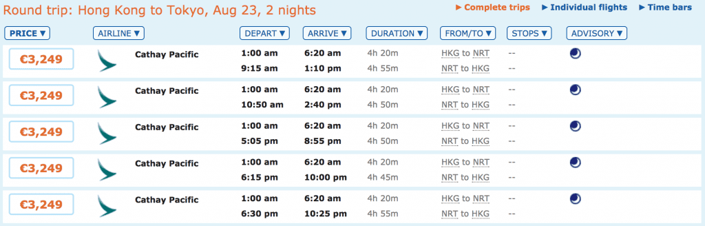Flüge von Hong Kong nach Tokyo in der Business Class