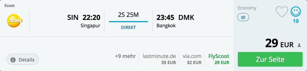 Flüge von Singapur nach Bangkok