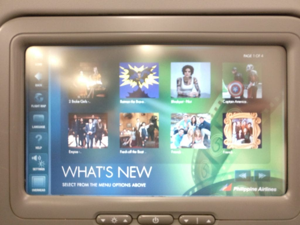 Philippine Airlines regional Business Class Entertainment 3