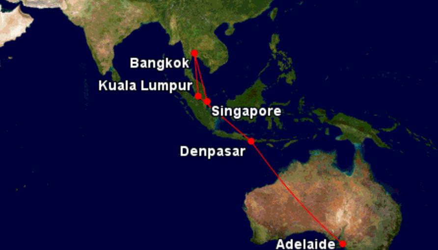 Route auf dem Weg nach Australien