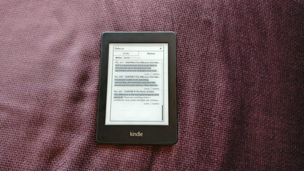 Kindle eBook Reader Markierungen