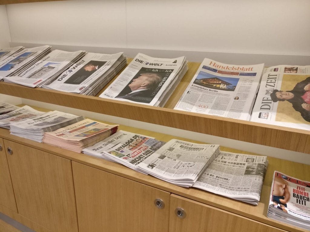 Lufthansa Senator Lounge Munich L11 Newspapers