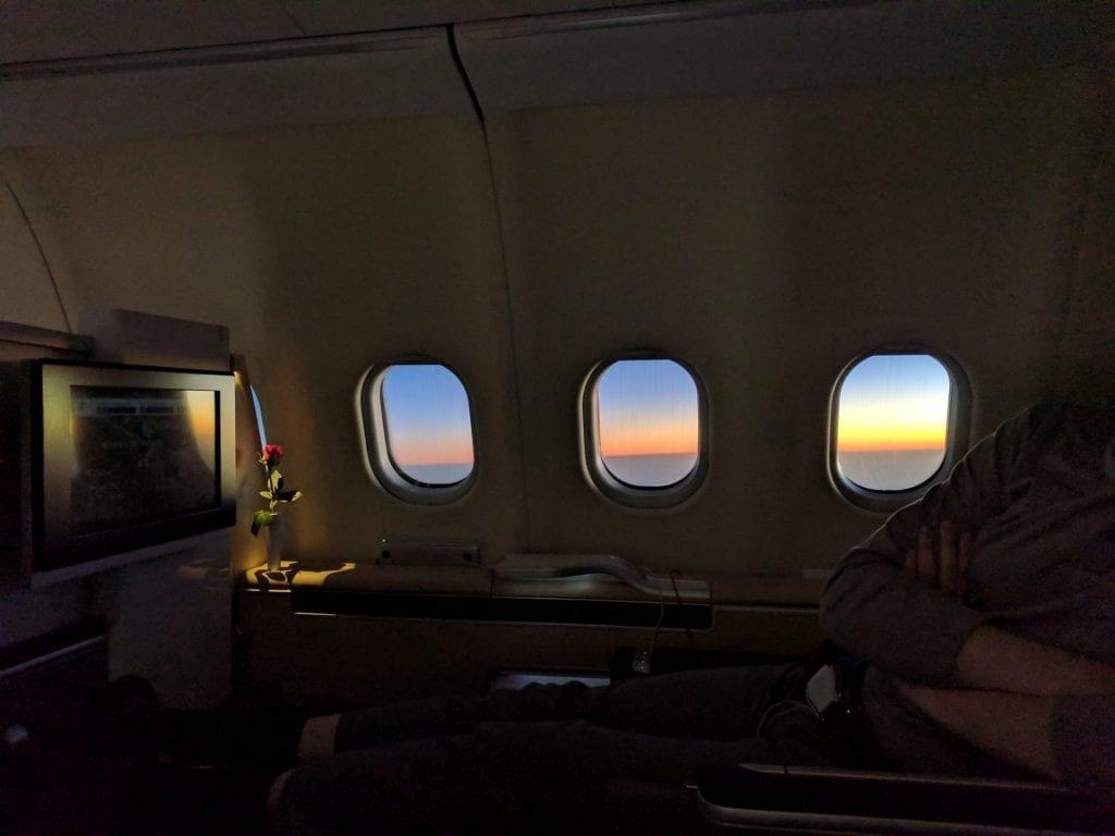 Sonnenuntergang in der Lufthansa First Class