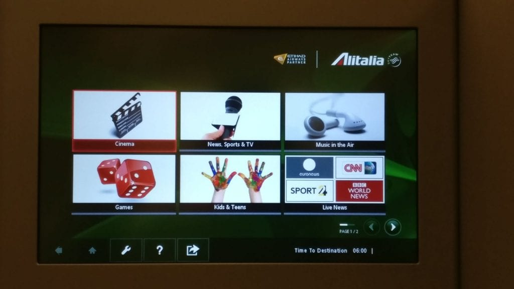 Alitalia Business Class Airbus A330 Entertainment