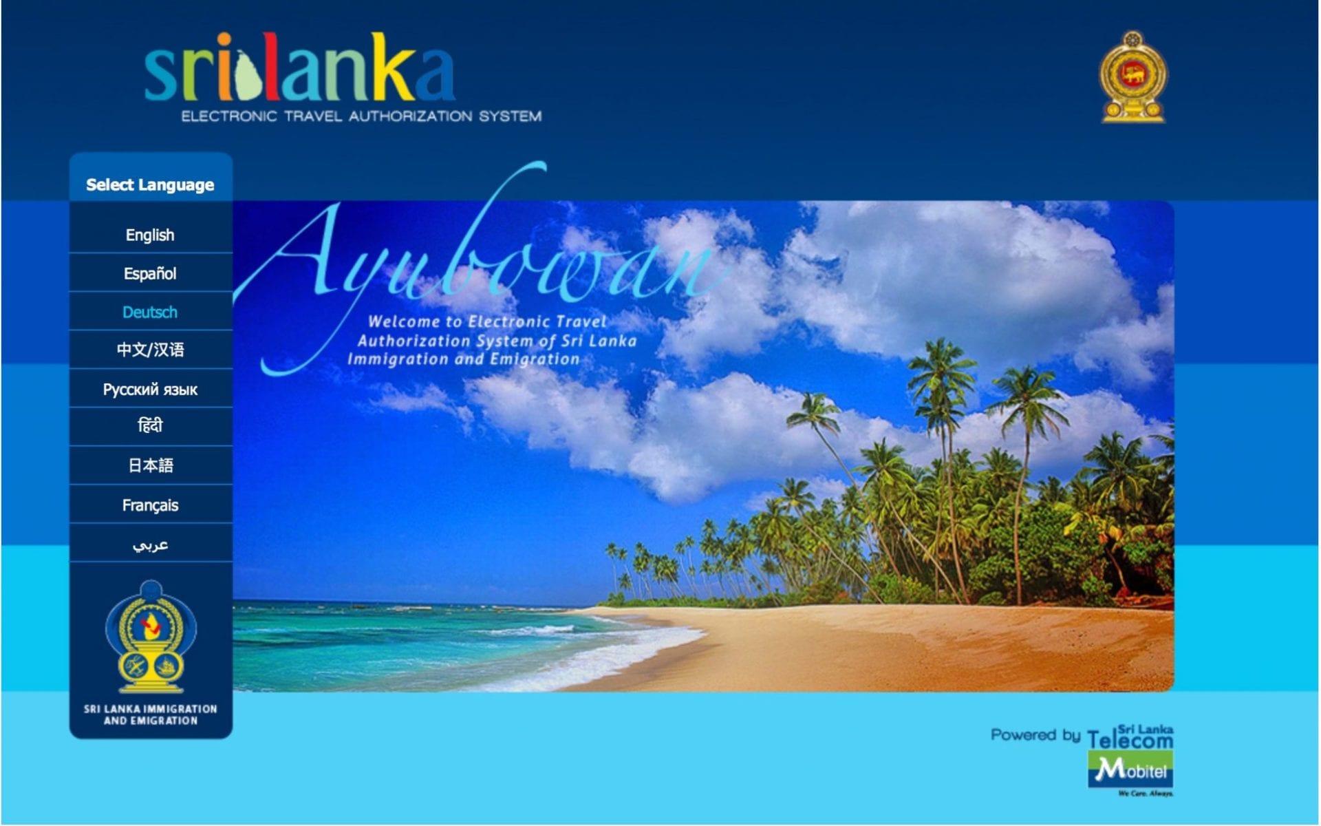 Einreisebestimmungen für Sri Lanka Hompage eta