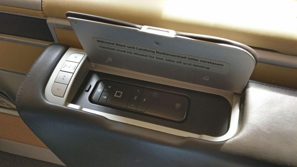 Lufthansa First Class Seat Controls