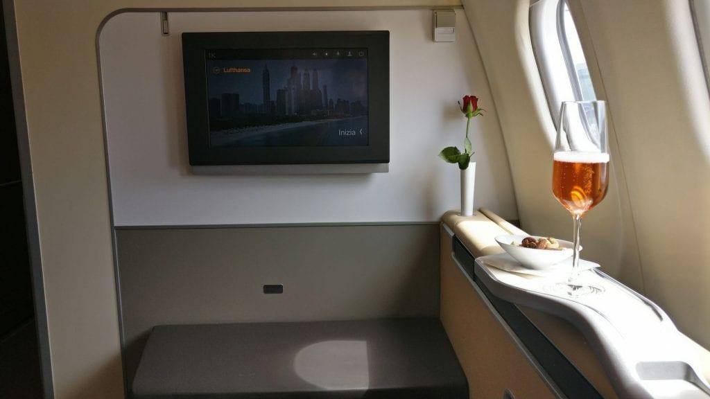 Lufthansa First Class Welcome Drink