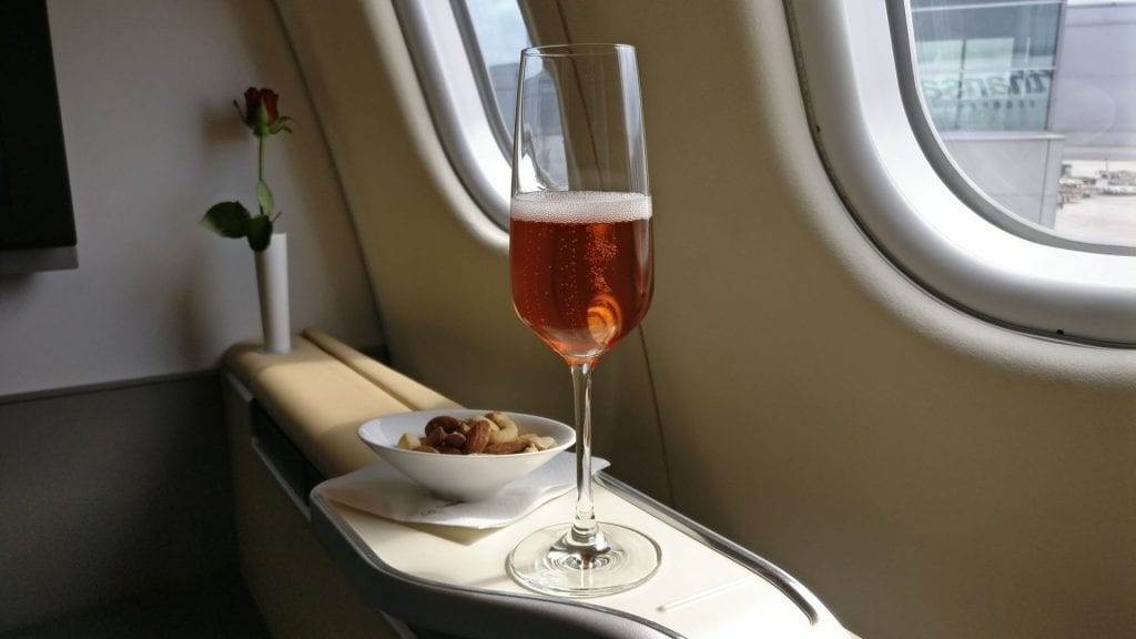 Lufthansa First Class Welcome Drink 2