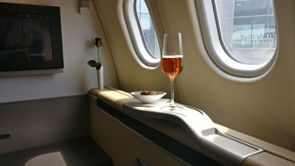 Lufthansa First Class Welcome Drink 3