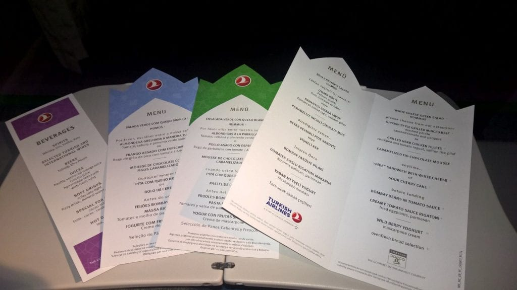 Menu Turkish Airlines 777 Economy