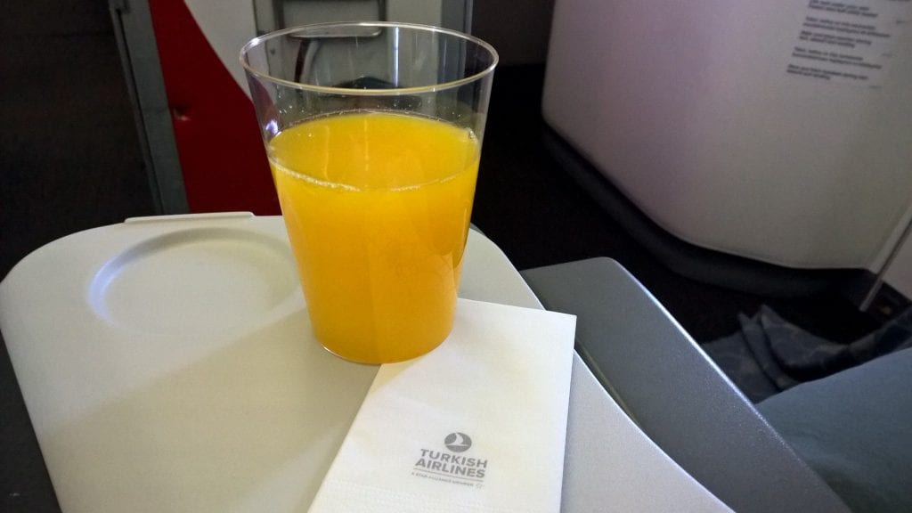 Orange Juice Turkish Airlines 777 Economy