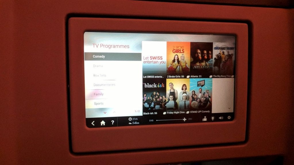 Swiss Business Class Airbus A330 Entertainment