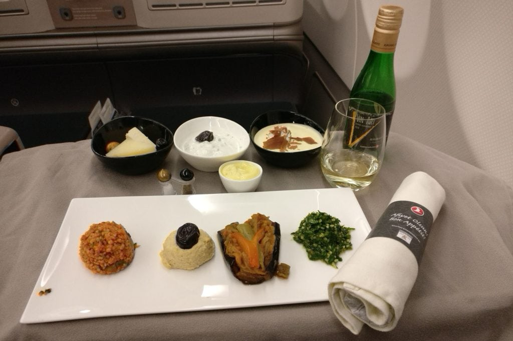 Turkish Airlines Business Class Airbus A330 300 Dinner