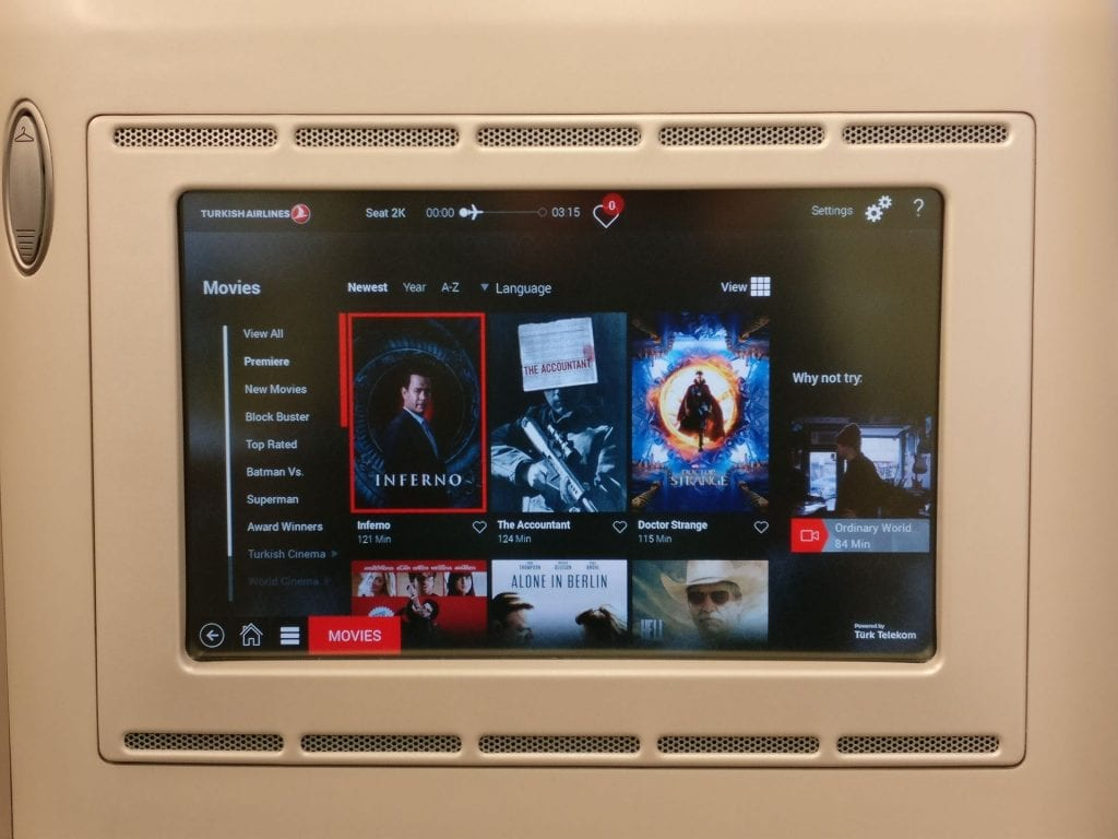 Turkish Airlines Business Class Airbus A330 300 Entertainment 3