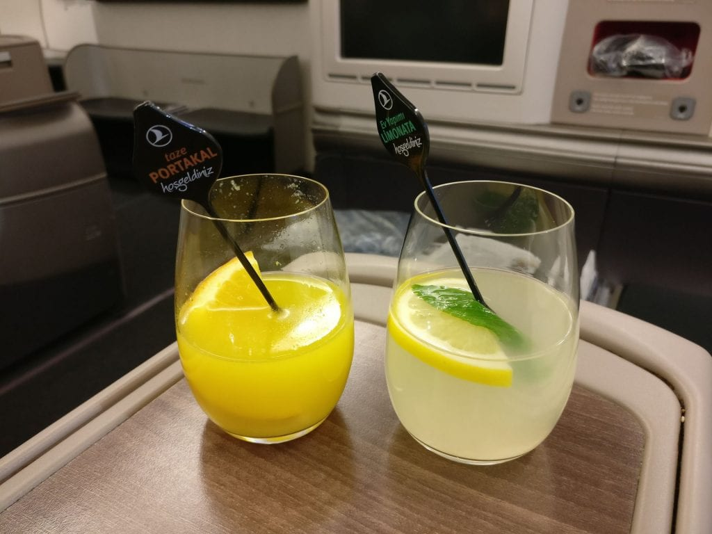 Turkish Airlines Business Class Airbus A330 300 Welcome Drink