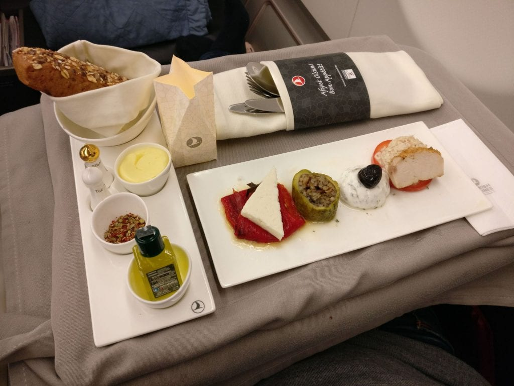 Turkish Airlines Business Class Airbus A330 Dinner 4