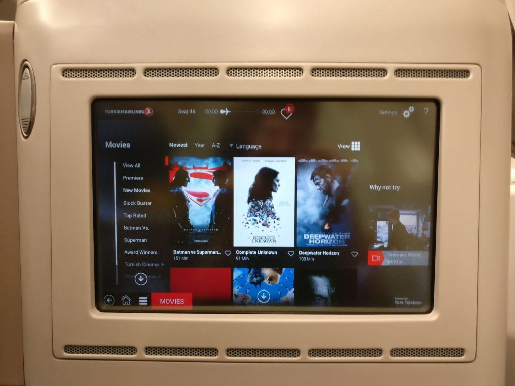 Turkish Airlines Business Class Airbus A330 Entertainment